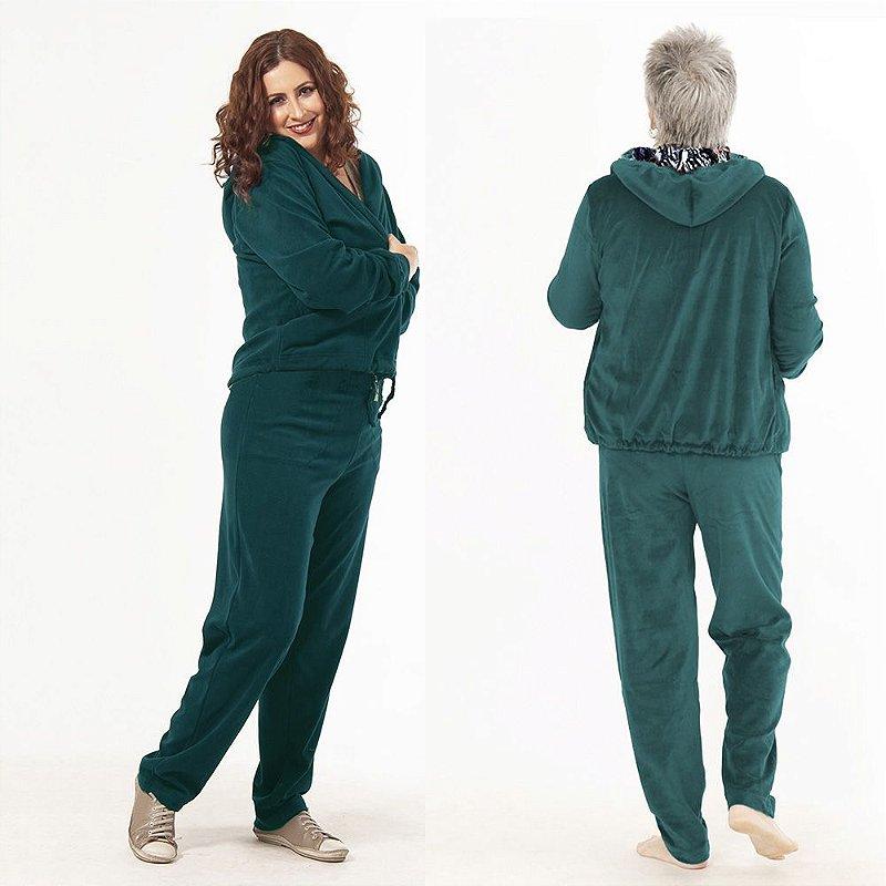Conjunto de Agasalho Plus Size de Plush Verde