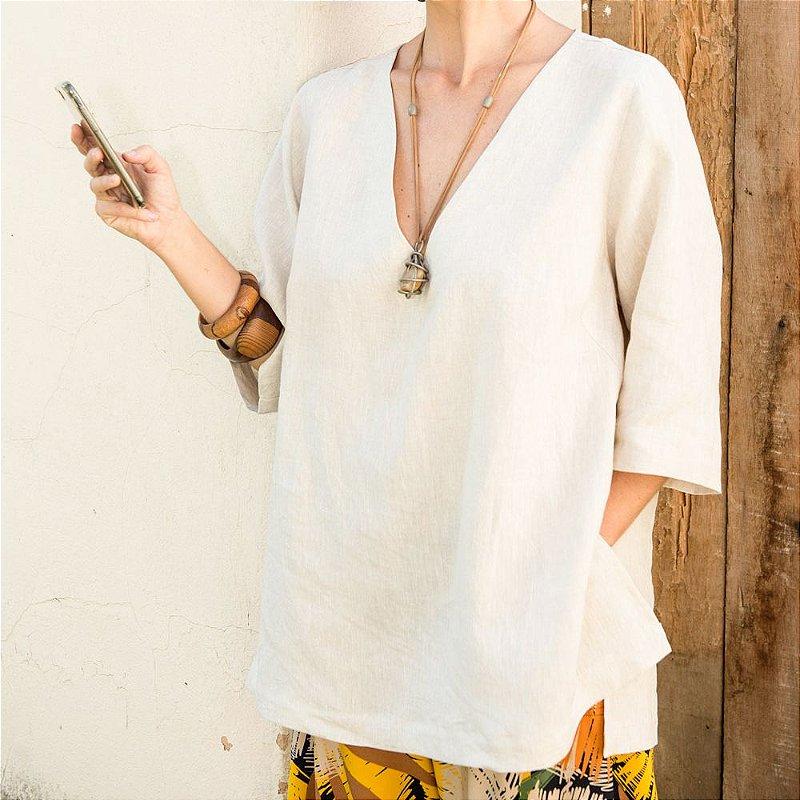 Blusa Sicília Decote V de Linho Puro Natural