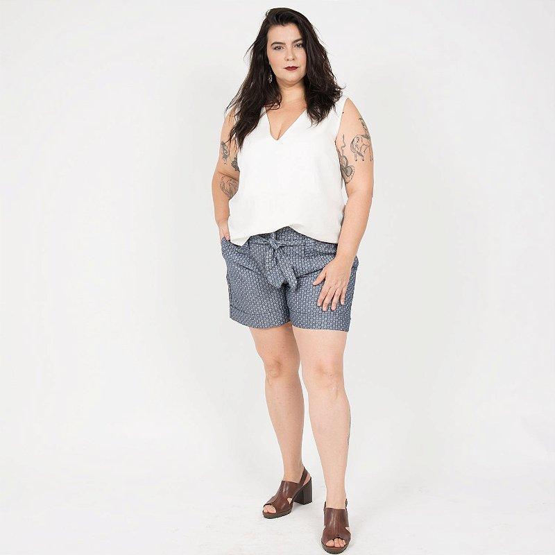 Shorts de Chambray Florzinha