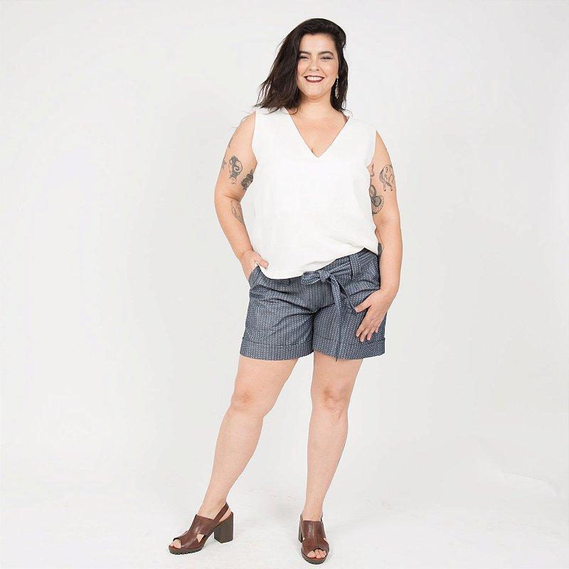 Shorts de Chambray Poá