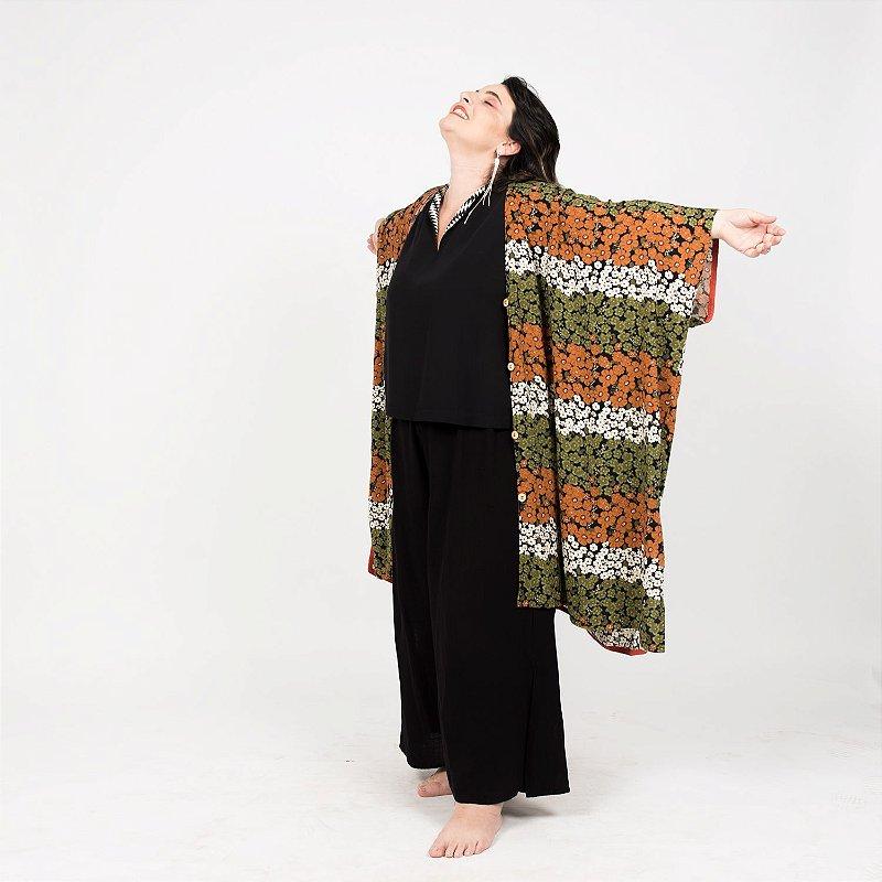 Vestido Kimono Floridinho Verde Marrom
