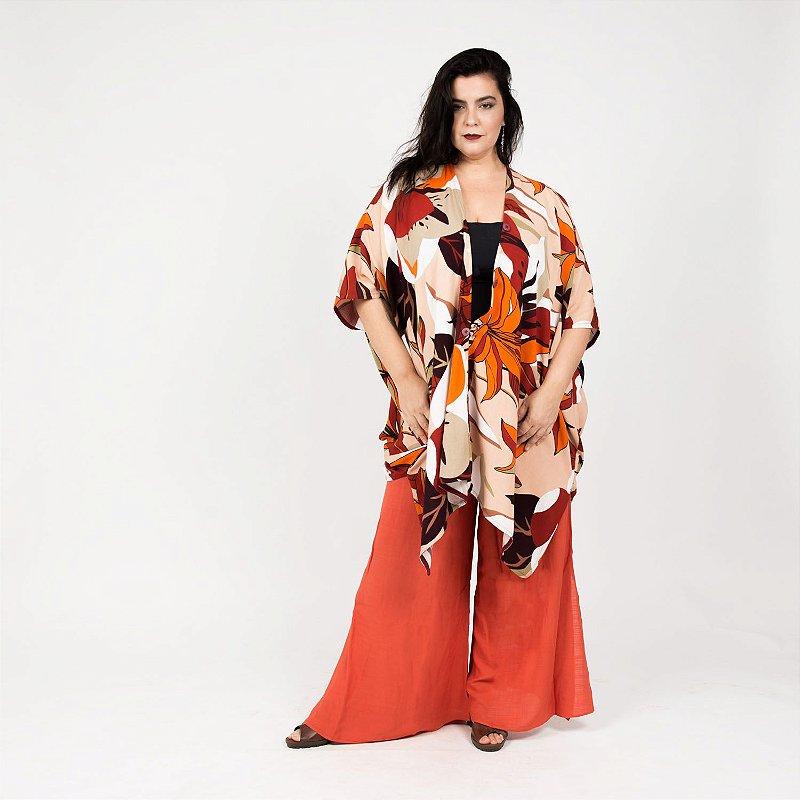 Vestido Kimono Flor Vinho Laranja