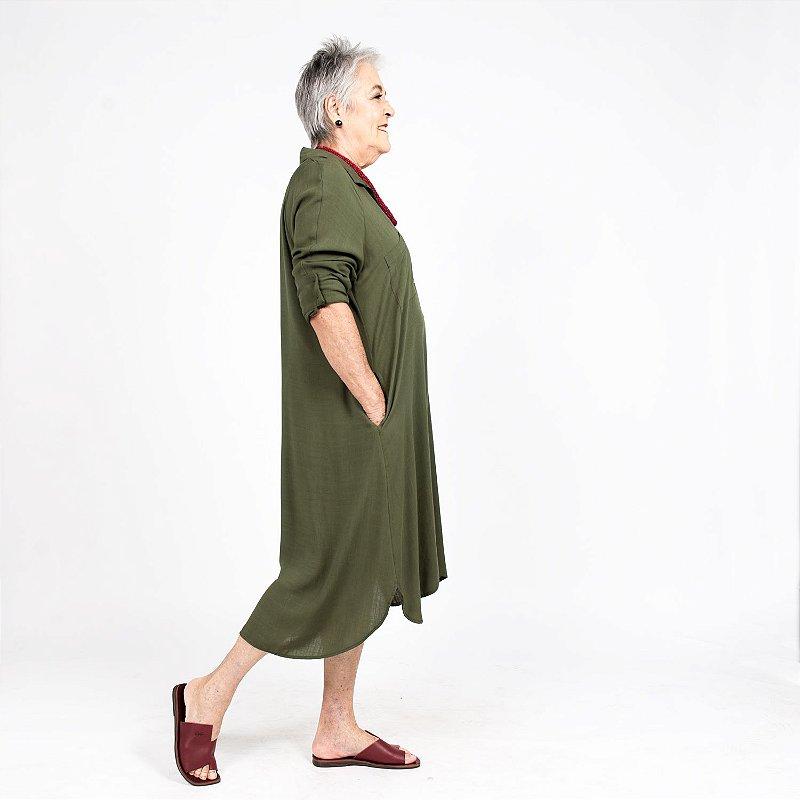 Vestido Chemise Amplo Verde Oliva