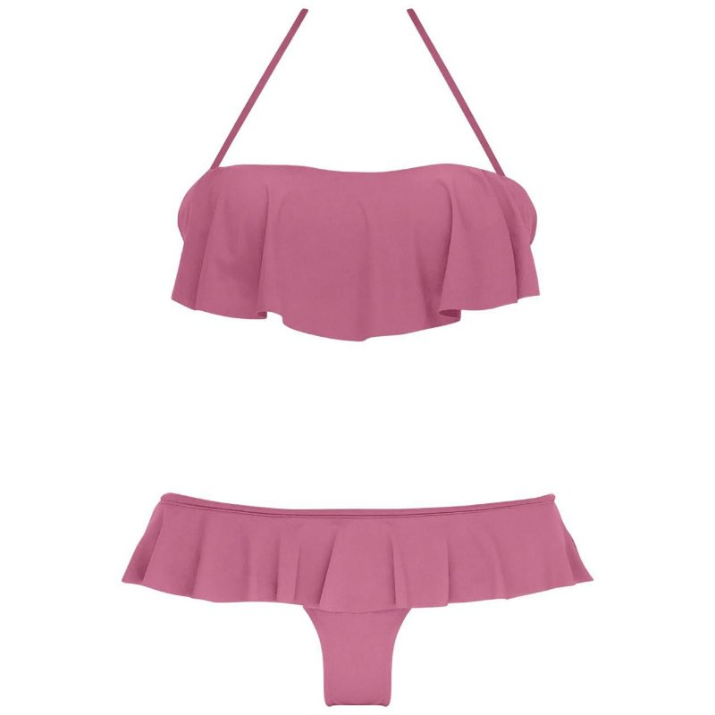 ROSE - TOP BANDEAU BABADO BOJO FIXO | BOTTOM BABADO NOVO CORTE