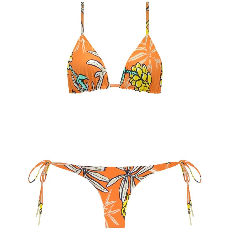TROPICAL CORAL - TOP  CORTININHA REVERSIBLE | BOTTOM LACINHO DUPLA FACE