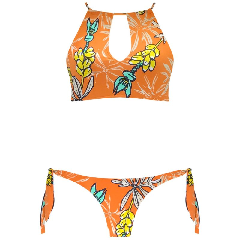 TROPICAL CORAL - TOP CROPPED VAZADO | BOTTOM LAÇO GROSSO DUPLA FACE