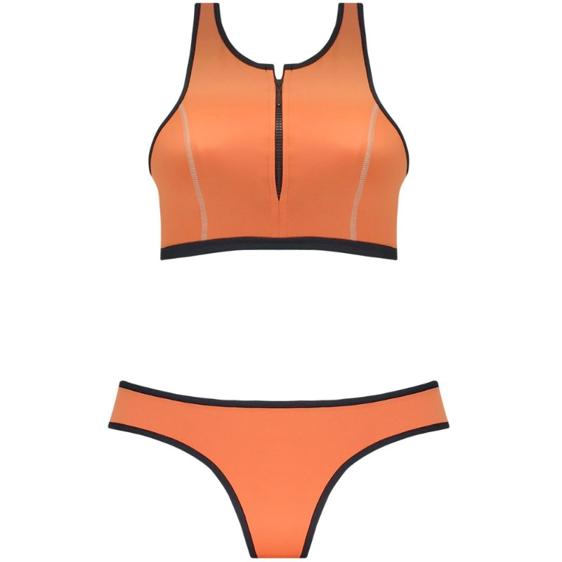 NEOPRENE LARANJA - TOP CROPPED ZÍPER | BOTTOM TRADICIONAL VIÉS