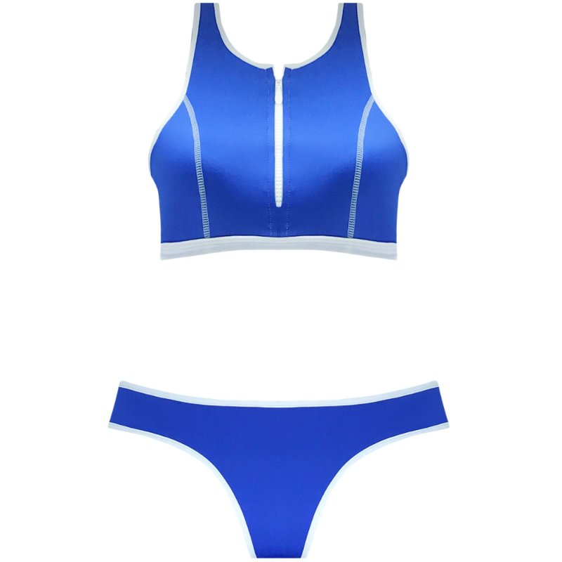 NEOPRENE AZUL - TOP CROPPED ZÍPER | BOTTOM TRADICIONAL VIÉS