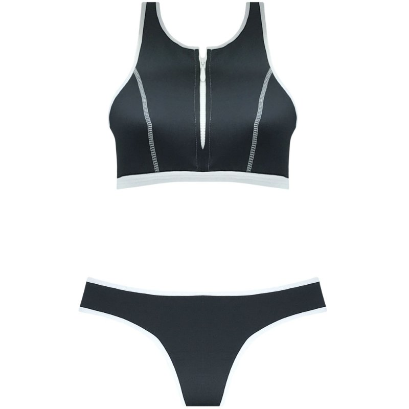 NEOPRENE PRETO - TOP CROPPED ZÍPER | BOTTOM TRADICIONAL VIÉS