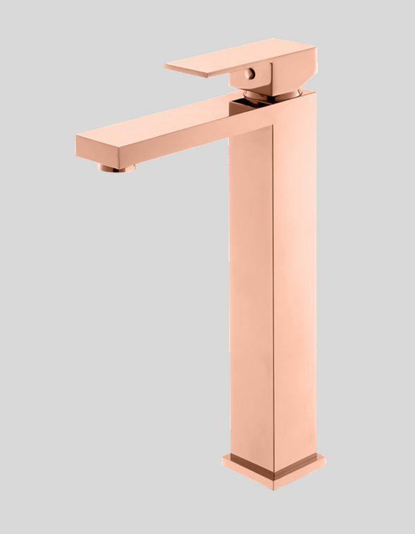 Torneira Rose Gold Bica Alta Monocomando Para Lavatório Linha Quadratta Kromma 456