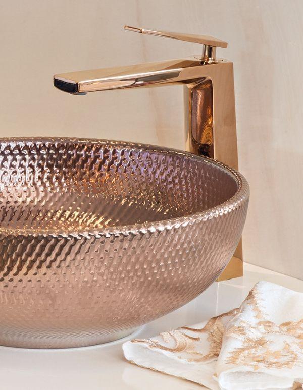 Torneira Misturador Bica Alta Rose Gold Monocomando Banheiro Quartzo Kromma 278