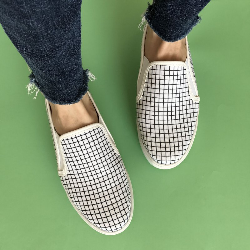 Slip On Estampa Xadrez Branco