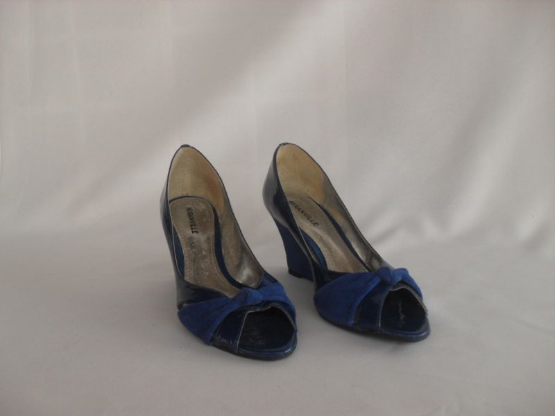 Sapato Anabela Azul Royal - Semi Novo!