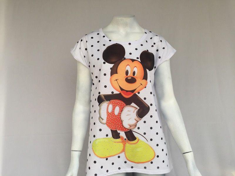 Camiseta Mickey Bolinhas - Nova!