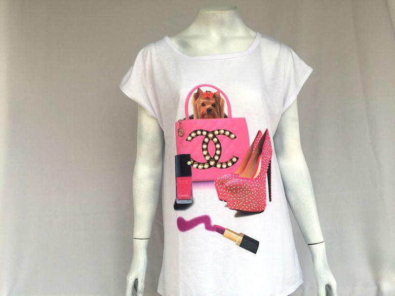 Camiseta Cachorrinha Chanel - Nova!