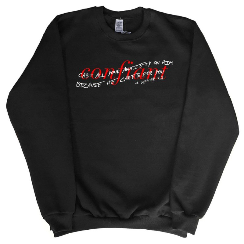 1 PEDRO 5:7 SWEATSHIRT BLACK