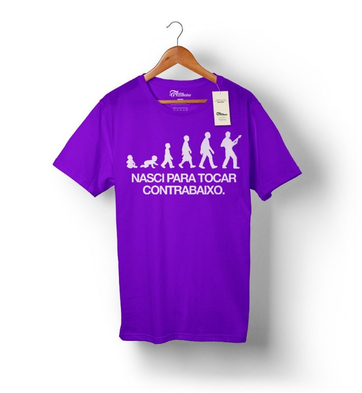 Camiseta – Nasci para tocar contrabaixo – Roxa