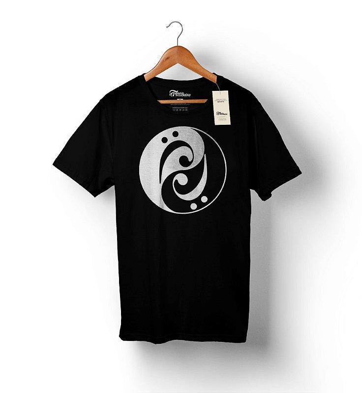 Camiseta – Bass Yin Yang – Preta - Estampa Branca