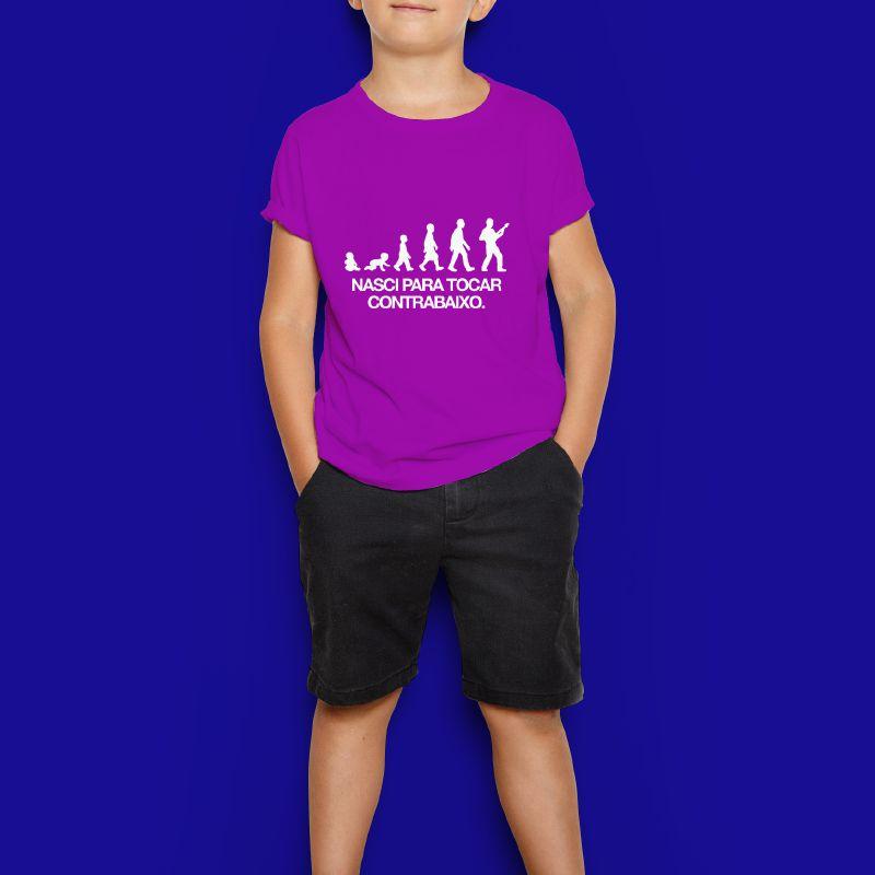 Camiseta Kids - Nasci Para Tocar Contrabaixo