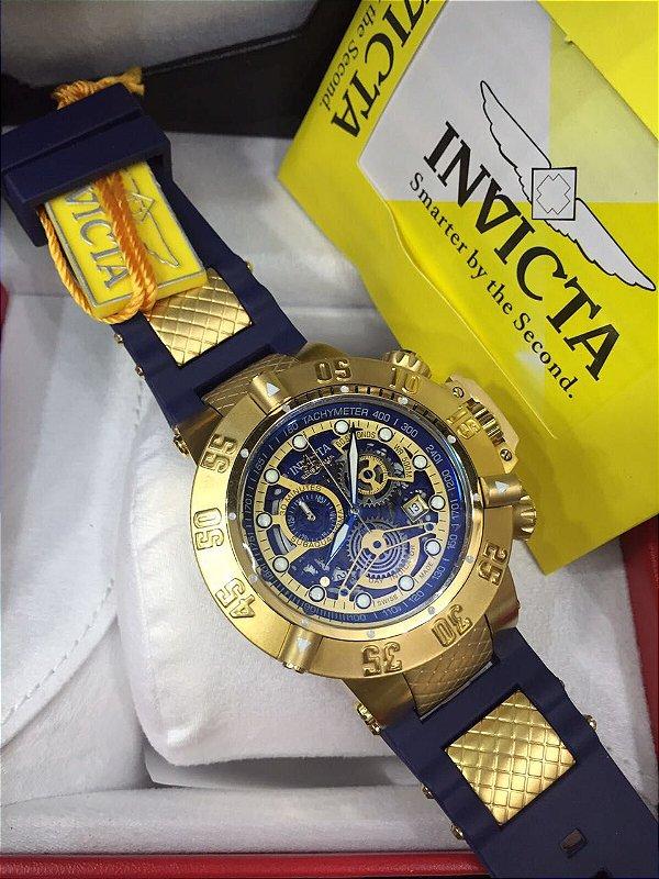 fd36cd43d92 Invicta Subaqua Noma 3 Skeleton com pulseira em Borracha azul - Luks Store  Multimarcas