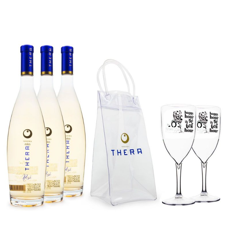 Combo 3x Vinhos Thera Rosé 750ml + Ice Bag + 2 Taças