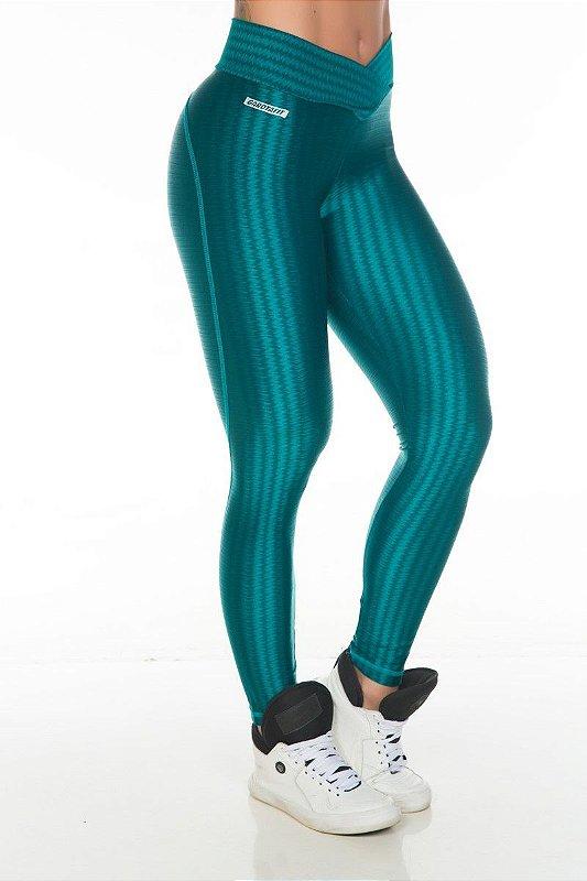 Legging Cirrê 3D Verde Garota Fit