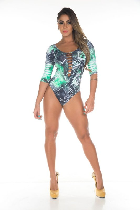 Body Manga Longa Abstract Verde Garota Fit