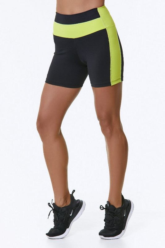Shorts BRO Breathe Preto Amarelo Neon