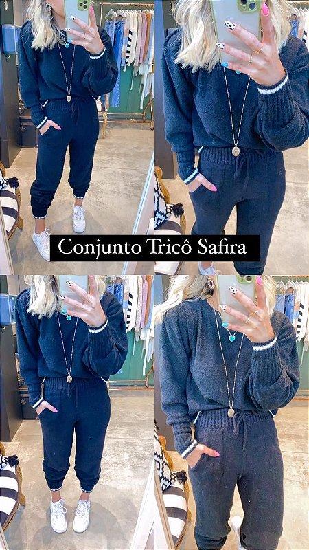Conjunto Tricot Mousse Safira Preto