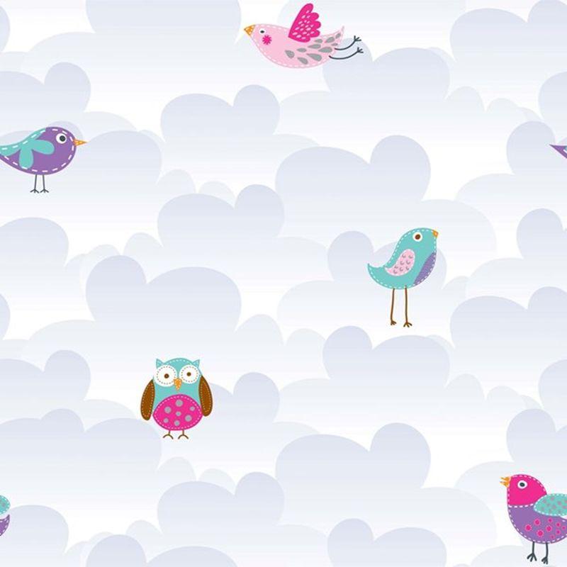 Papel de parede infantil de coruja e passarinho estilocor - Papel infantil para paredes ...