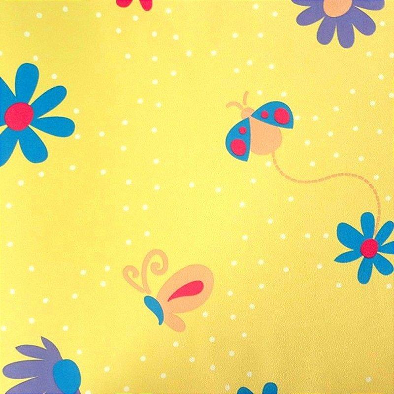 Papel de parede flores e borboletas amarelo kawayi 312801 vin lico estilocor - Papel vinilico para paredes ...