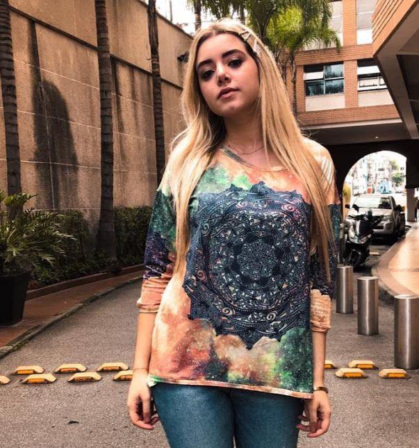 d68ff39ea Anemess - Blusa ampla Mandala Azul - TAMANHO UNICO - VESTE DO P AO GG