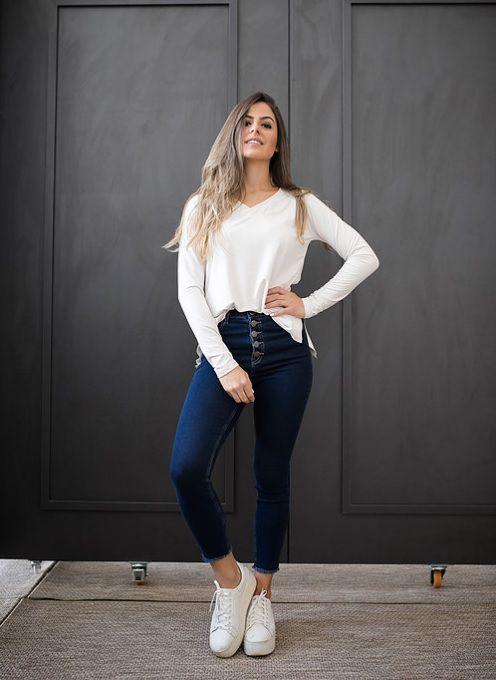 58a595a62 Calça Jeans com fio de Moletom Skinny - Bella Donna Boutique RC