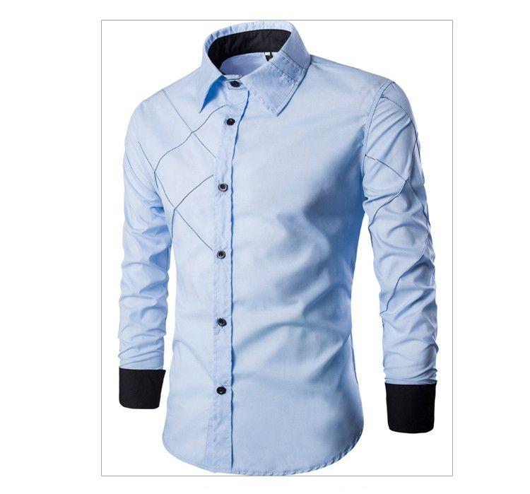 d130d6e2bc Camisa Masculina Duo Geométrica - Azul e Branco - MANDORAS