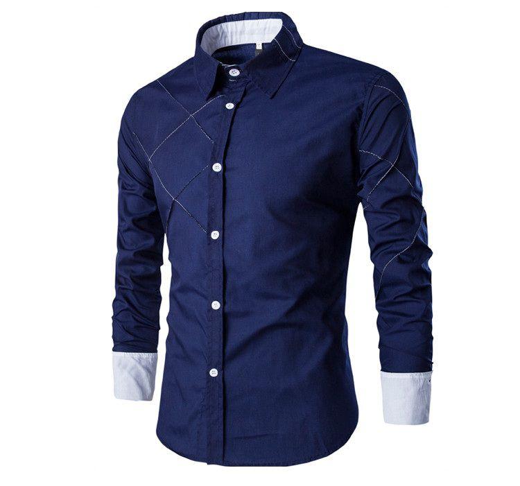 c9d782c26a Camisa Masculina Duo Listrada Azul Marinho - MANDORAS