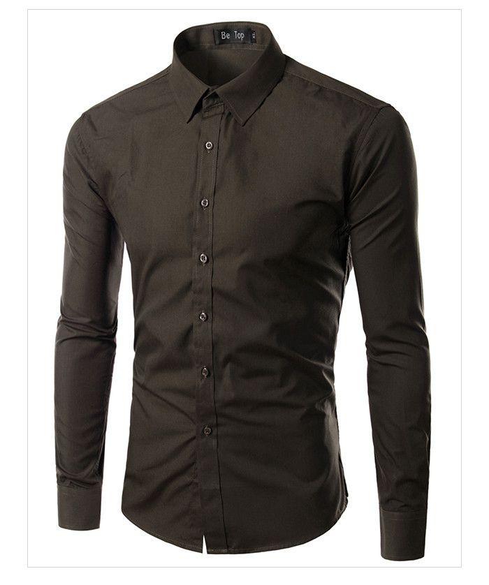 096bfaba26ff6 Camisa Masculina Slim Fit Cor Sólida - Marrom - MANDORAS