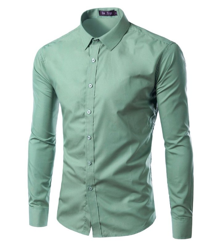 571743c32985c Camisa Masculina Slim Fit Cor Sólida - Verde Claro Forest Green G