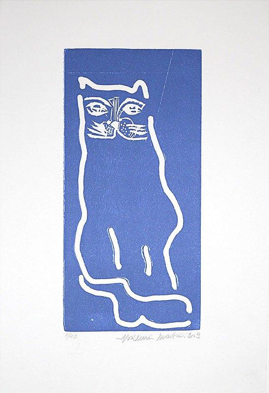 Gravura Gato Azul Traço