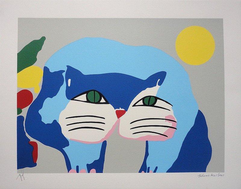 Gravura Gato Azul com Sol