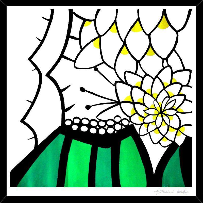 Quadro Gravura Flor de Mandacaru