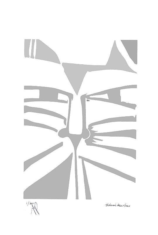 """Gravura """"Olhar"""" Gato Prata"""