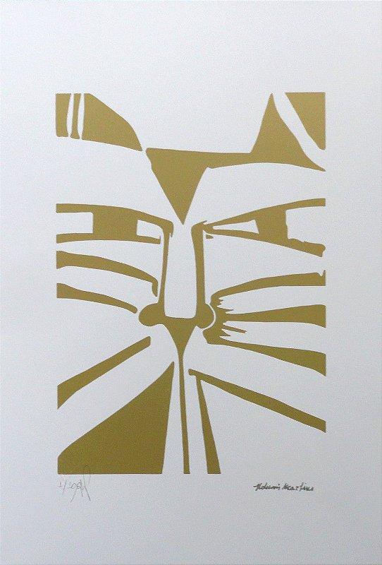 "Gravura ""Olhar"" Gato Dourado"