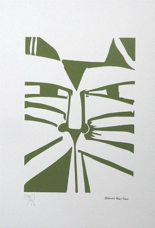 "Gravura ""Olhar"" Gato Verde"