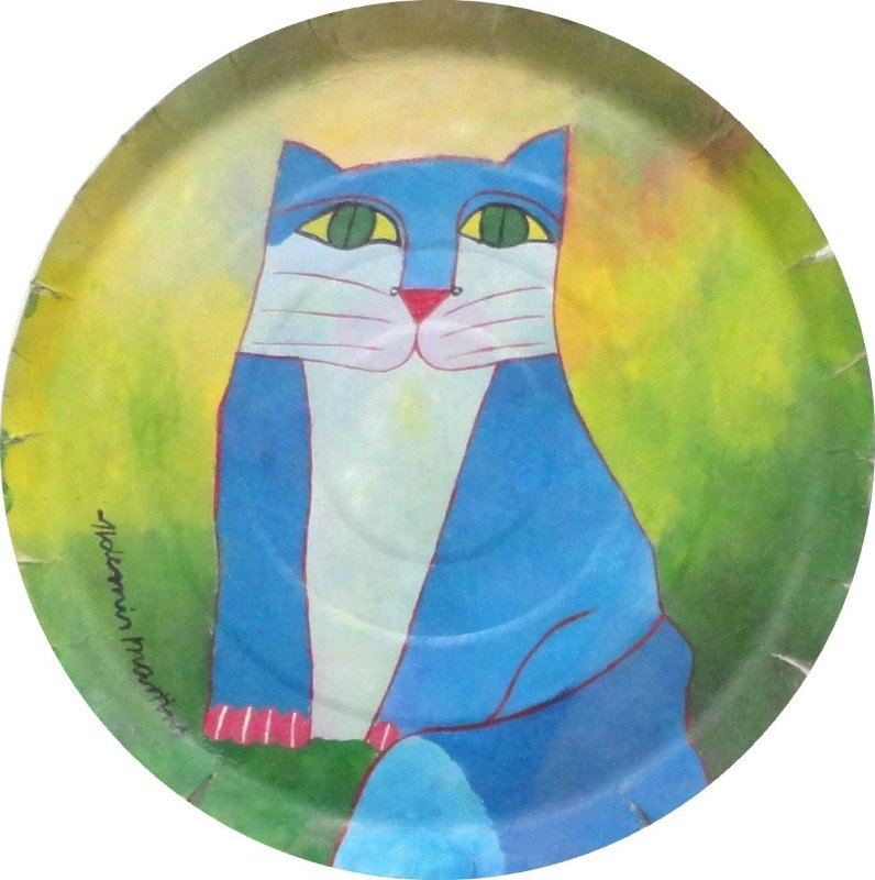 Quadro Gato Azul (Tampa de Pizza)