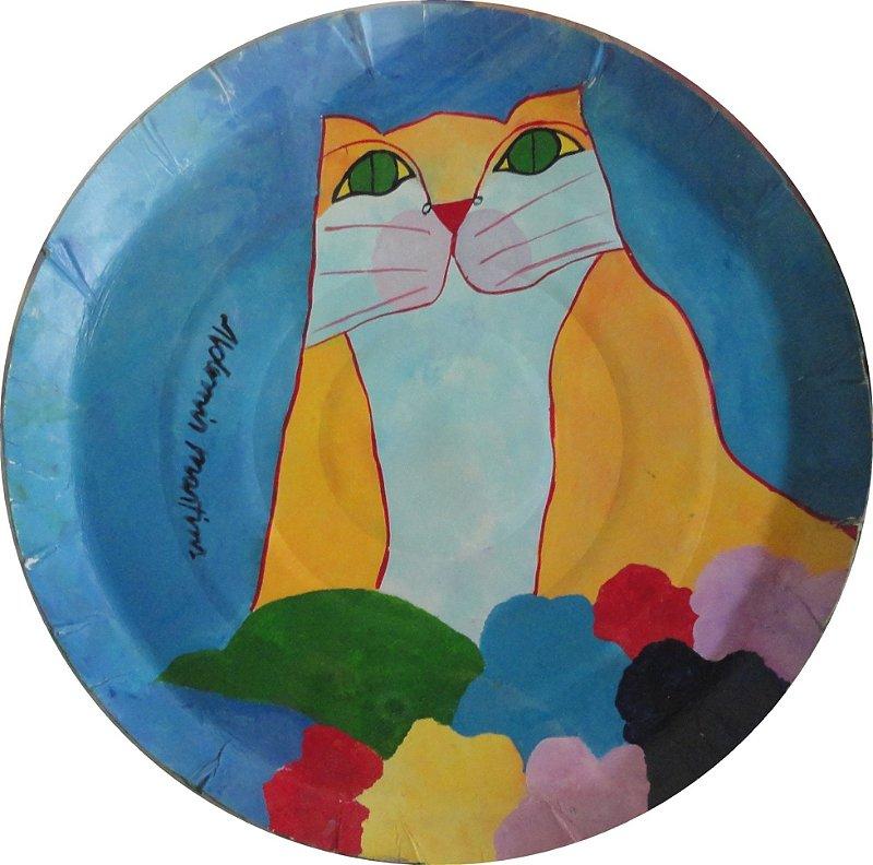 Quadro Gato Amarelo com Flores (Tampa de Pizza)
