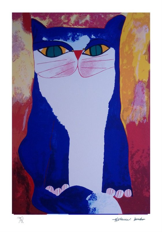 Gravura Gato Azul I