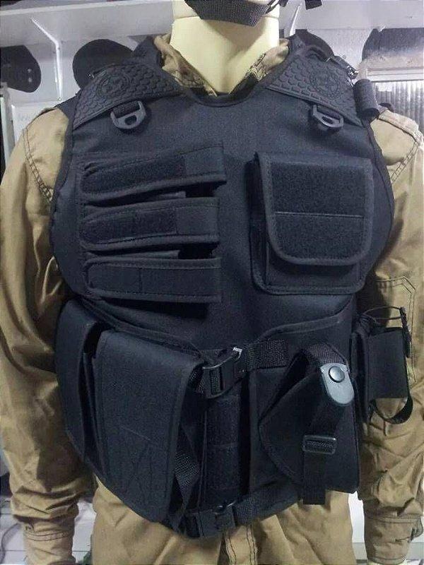 Capa de colete tática completa com coldre e porta HT Promoção