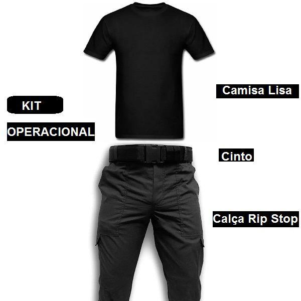 Calca Preta Rip Stop 6 Bolsos  Camisa Preta Lisa  Cinto Guarnição Vigilante kit