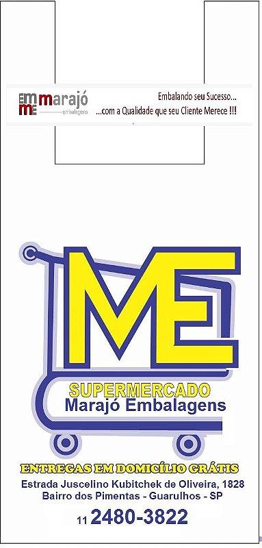 30,000 unidades - Sacolas Plásticas Convencionais - Modelo Alça Camiseta - 40x50 - Capacidade 5 Kg - Personalizadas em até 2 cores em 1 lado