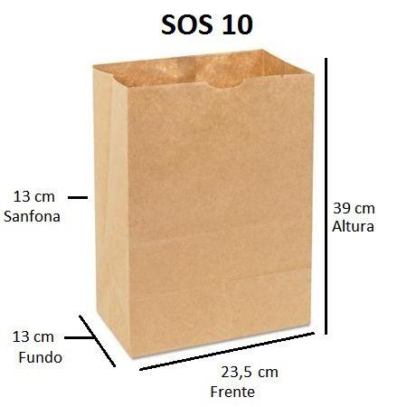 250 sacos de Papel 80 gramas - SOS 10 - Sem Alças